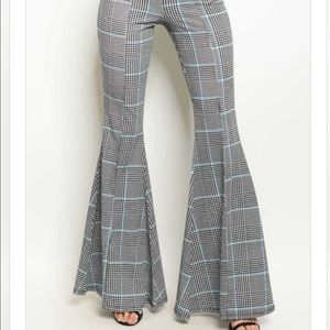 Checkered Bell Bottom Pants